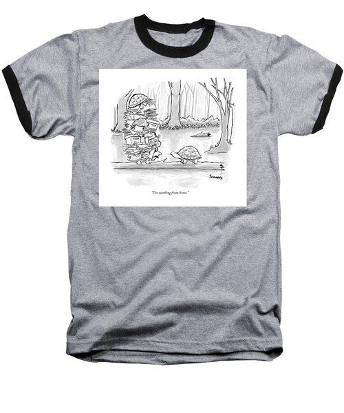 Two Tortoises Speak. One Has A Large Number Baseball T-Shirt