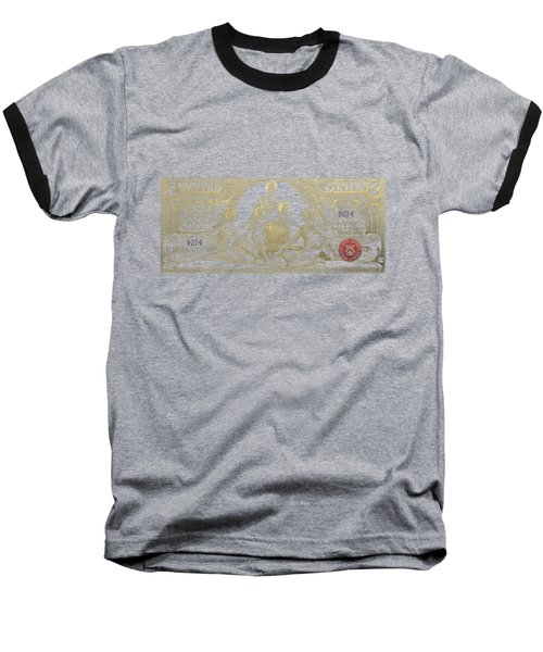 Baseball T-Shirt featuring the photograph Two U.s. Dollar Bill - 1896 Educational Series In Gold On Black  by Serge Averbukh