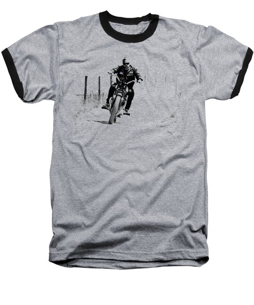 Two Wheels Move The Soul Baseball T-Shirt by Mark Rogan