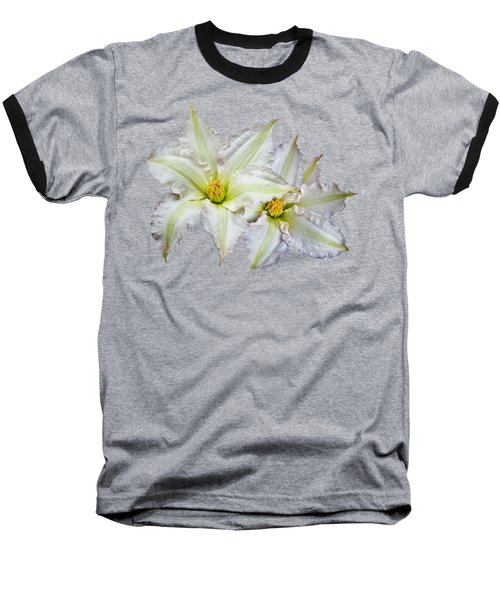 Baseball T-Shirt featuring the photograph Two White Clematis Flowers On Black by Jane McIlroy
