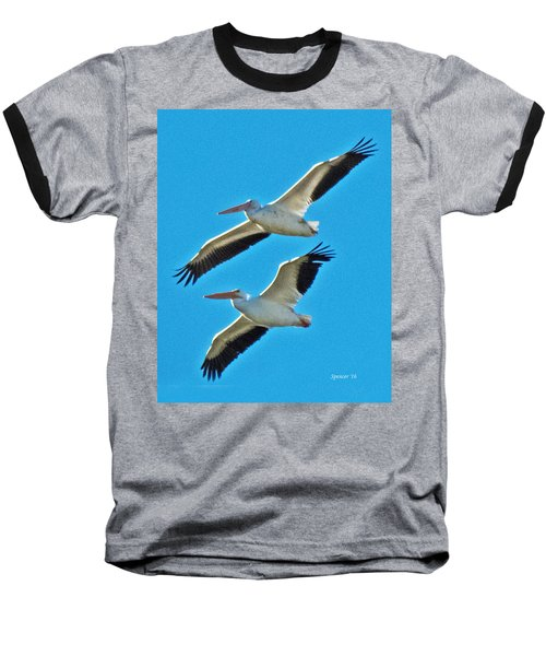 Two White Pelicans Baseball T-Shirt