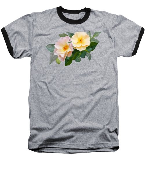 Two Wild Roses Baseball T-Shirt by Ivana Westin