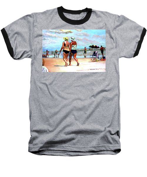 Two Women Walking On The Beach Baseball T-Shirt by Stan Esson