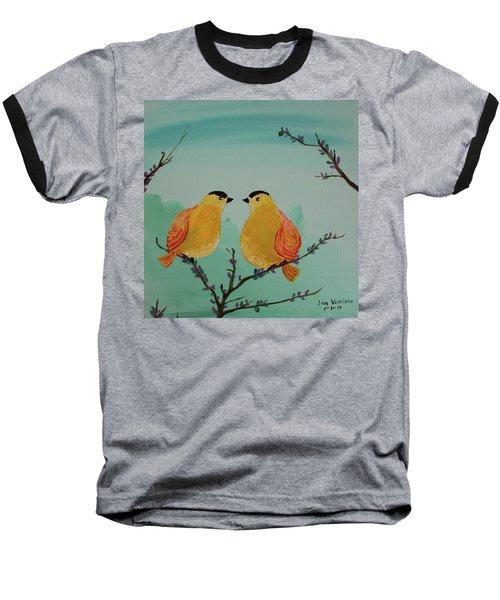 Two Yellow Chickadees Baseball T-Shirt