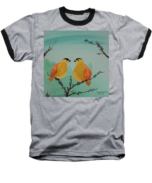 Two Yellow Chickadees Baseball T-Shirt