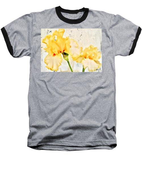 Two Yellow Irises Baseball T-Shirt by Marsha Heiken