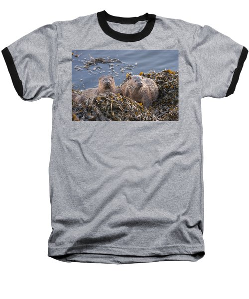 Two Young European Otters Baseball T-Shirt