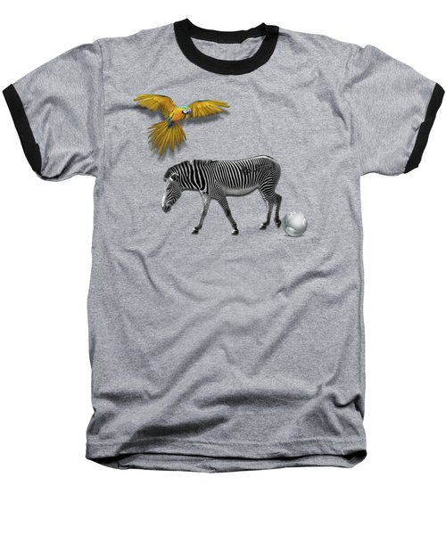Two Zebras And Macaw Baseball T-Shirt by iMia dEsigN