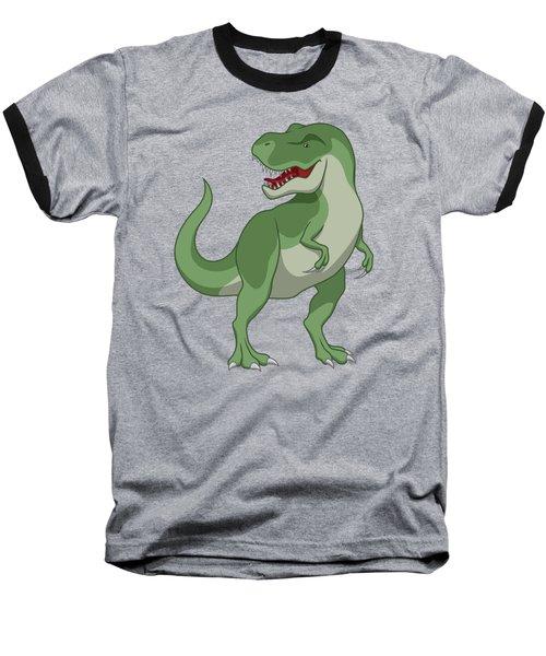 Tyrannosaurus Rex Dinosaur Green Baseball T-Shirt