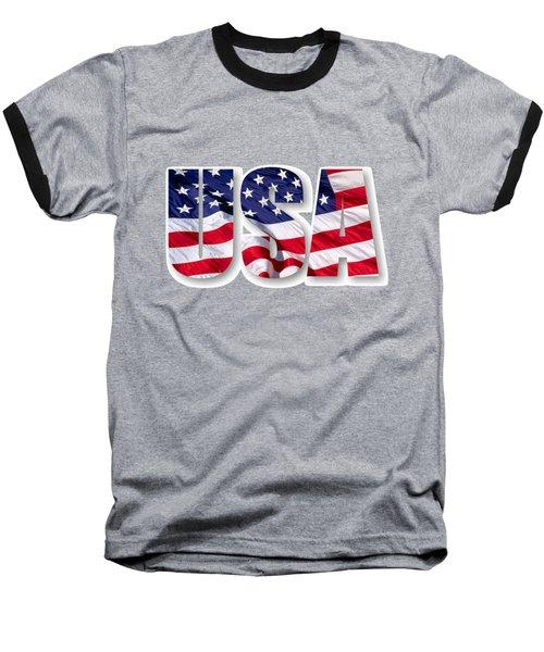 U. S. A. Red White Blue Design Baseball T-Shirt