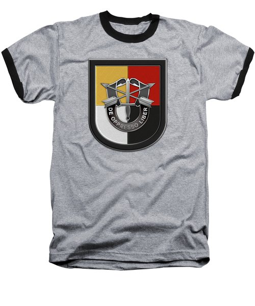 U. S.  Army 3rd Special Forces Group - 3  S F G  Beret Flash Over Green Beret Felt Baseball T-Shirt