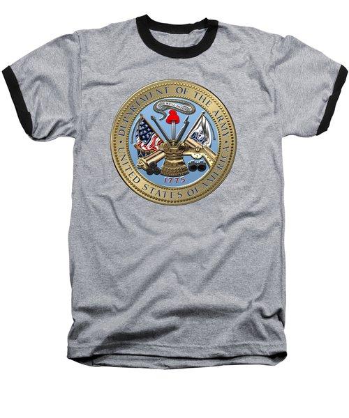 U. S. Army Seal Over Red Velvet Baseball T-Shirt