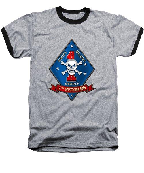 U S M C  1st Reconnaissance Battalion -  1st Recon Bn Insignia Over Black Velvet Baseball T-Shirt