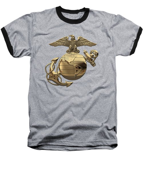 U S M C Eagle Globe And Anchor - N C O And Enlisted E G A Over Black Velvet Baseball T-Shirt