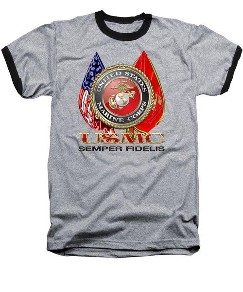 U. S. Marine Corps U S M C Emblem On Black Baseball T-Shirt