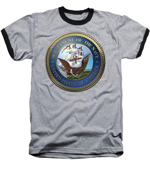 U. S.  Navy  -  U S N Emblem Over Red Velvet Baseball T-Shirt