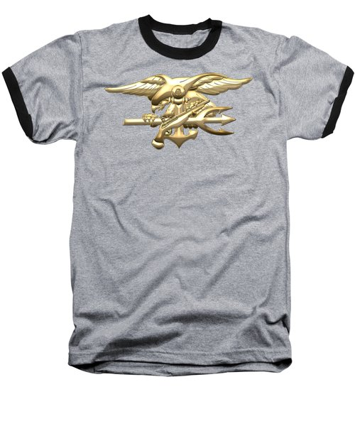U. S. Navy S E A Ls Emblem On Black Velvet Baseball T-Shirt