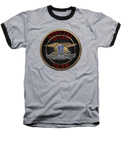 U. S. Navy S W C C - Special Boat Team 12   -  S B T 12  Patch Over Black Velvet Baseball T-Shirt by Serge Averbukh