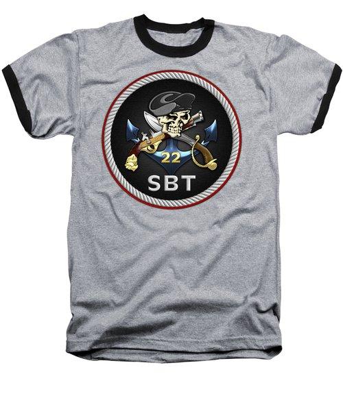 U. S. Navy S W C C - Special Boat Team 22  -  S B T 22  Patch Over Black Velvet Baseball T-Shirt by Serge Averbukh