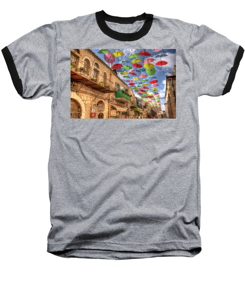 Umbrellas Over Jerusalem Baseball T-Shirt by Uri Baruch
