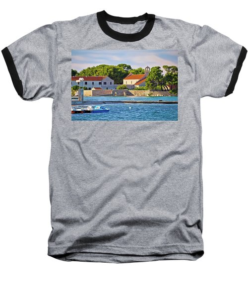 Ugljan Island Village Old Church And Beach View Baseball T-Shirt by Brch Photography