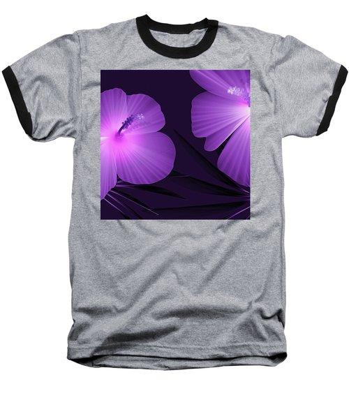 Ultraviolet Hibiscus Tropical Nature Print  Baseball T-Shirt