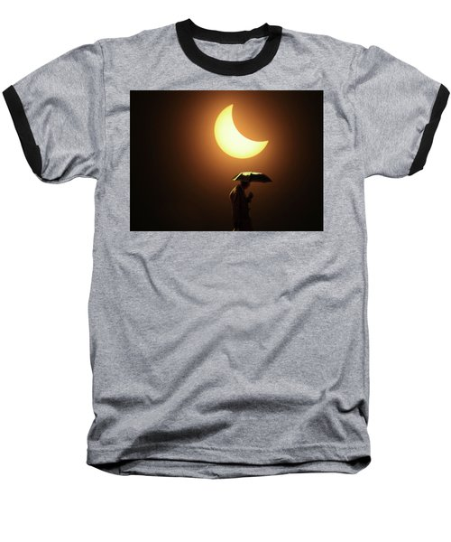 Umbrella Man Eclipse Baseball T-Shirt