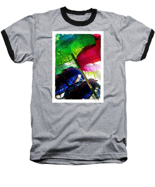 Umbrellas Colorful Baseball T-Shirt by Linda Olsen
