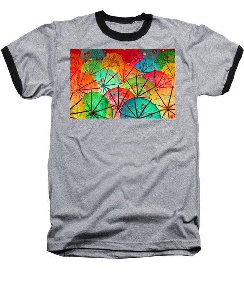 Umbrellas Galore Baseball T-Shirt by Bobby Villapando