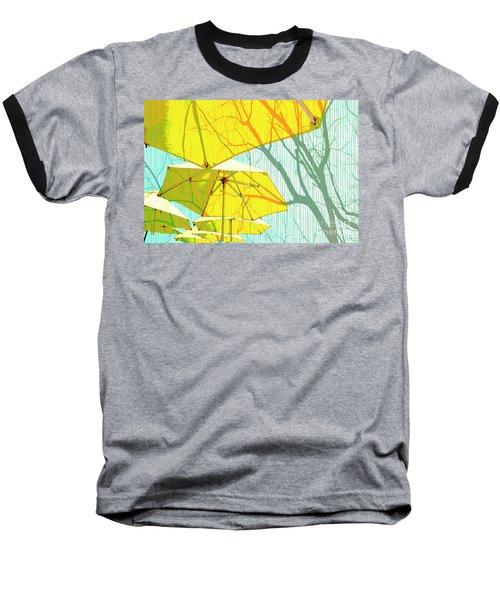 Umbrellas Yellow Baseball T-Shirt by Deborah Nakano