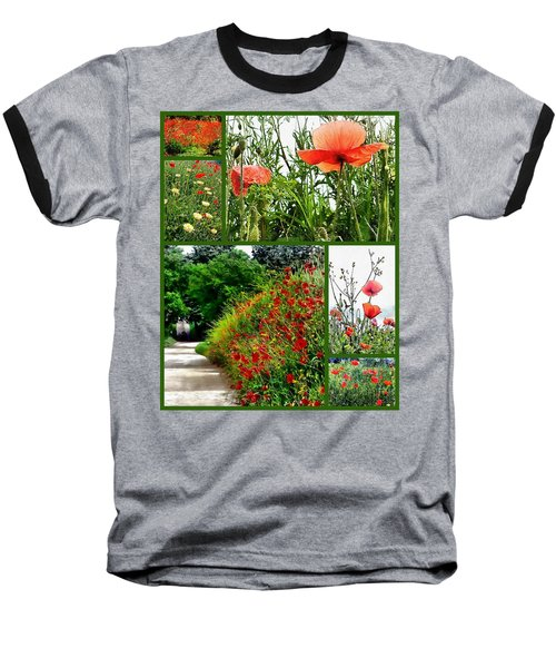 Umbrian Red Poppy Collage Baseball T-Shirt
