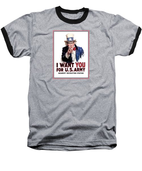 Uncle Sam -- I Want You Baseball T-Shirt by War Is Hell Store