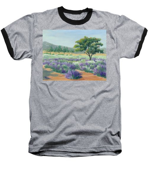 Under Blue Skies In Lavender Fields Baseball T-Shirt by Sandy Fisher