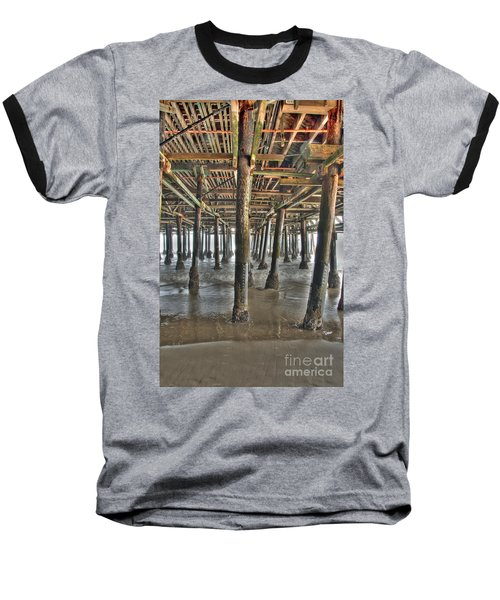 Baseball T-Shirt featuring the photograph Under The Boardwalk Pier Sunbeams  by David Zanzinger