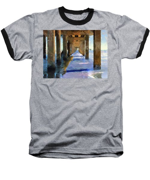 Under The Galvaston Pier Baseball T-Shirt by Cedric Hampton