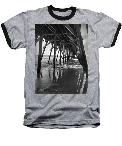 Under The Pier At Myrtle Beach Baseball T-Shirt by Kelly Hazel