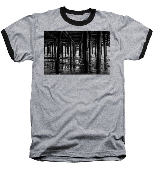 Under The Pier - Black And White Baseball T-Shirt