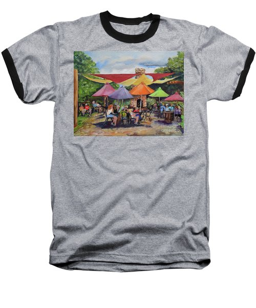 Baseball T-Shirt featuring the painting Under The Umbrellas At The Cartecay Vineyard - Crush Festival  by Jan Dappen