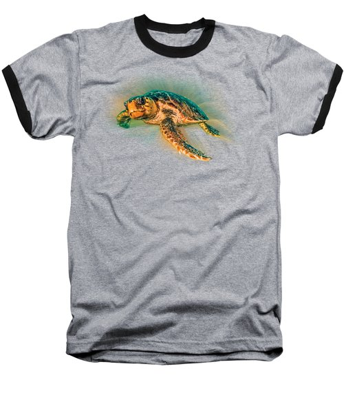 Undersea Turtle Baseball T-Shirt by Debra and Dave Vanderlaan