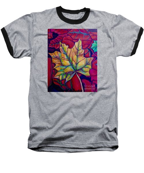 Baseball T-Shirt featuring the painting Understudy Of A Turning Maple Leaf In The Fall by Kimberlee Baxter