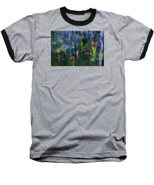Underwater Lilies Baseball T-Shirt by Sean Sarsfield