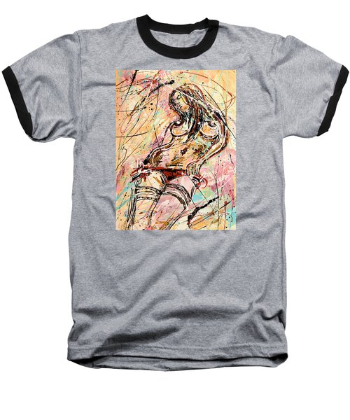 Undressing Woman  Baseball T-Shirt by Erika Pochybova