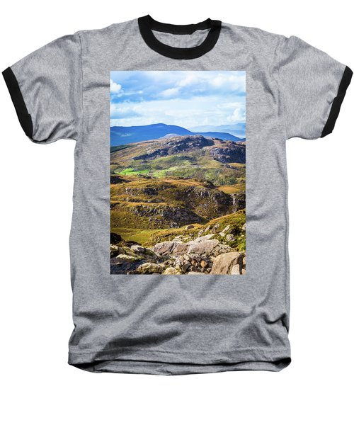 Undulating Green, Purple And Yellow Rocky Landscape In  Ireland Baseball T-Shirt by Semmick Photo