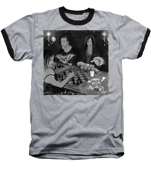 Baseball T-Shirt featuring the painting Unexpected Company - Black And White Fantasy Art by Raphael Lopez