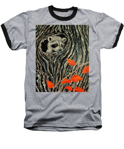 Unexpected Visitor Baseball T-Shirt by Susan DeLain