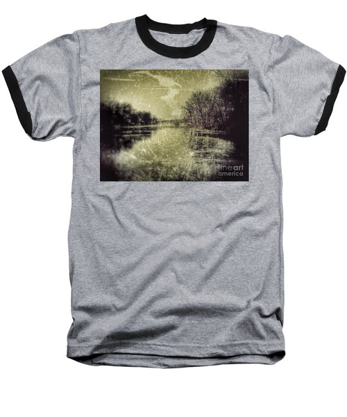Unfrozen Lake Baseball T-Shirt by Jason Nicholas