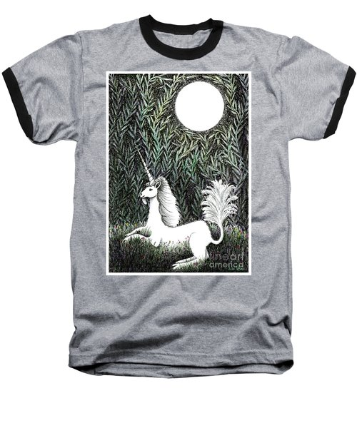 Baseball T-Shirt featuring the drawing Unicorn In Moonlight by Lise Winne
