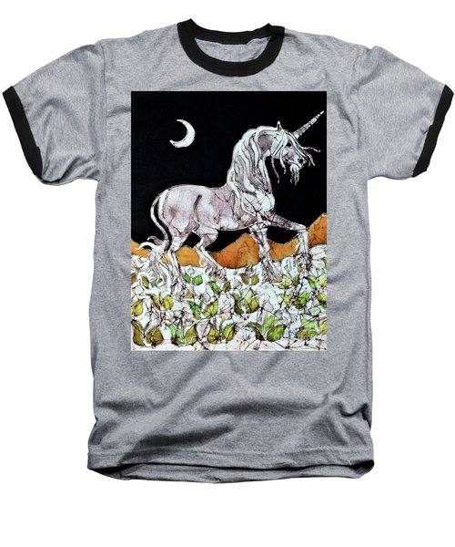 Unicorn Over Flower Field Baseball T-Shirt