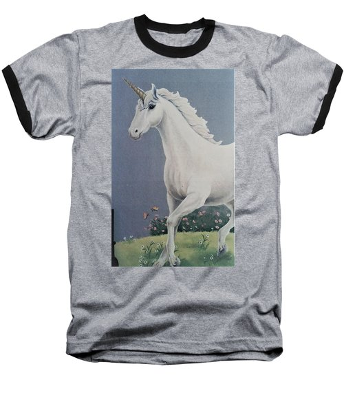 Unicorn Roaming The Grass And Flowers Baseball T-Shirt