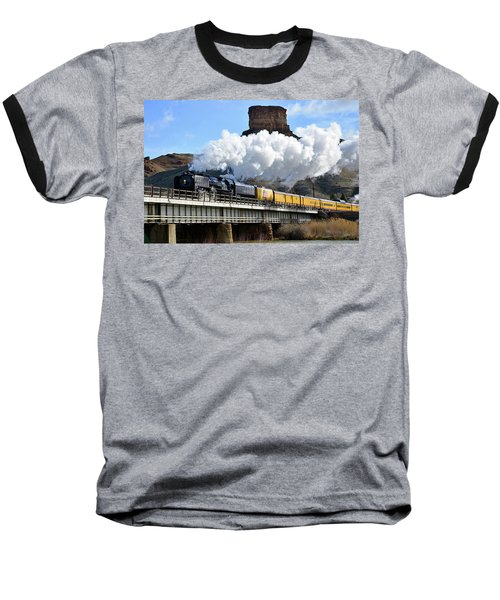 Union Pacific Steam Engine 844 And Castle Rock Baseball T-Shirt by Eric Nielsen